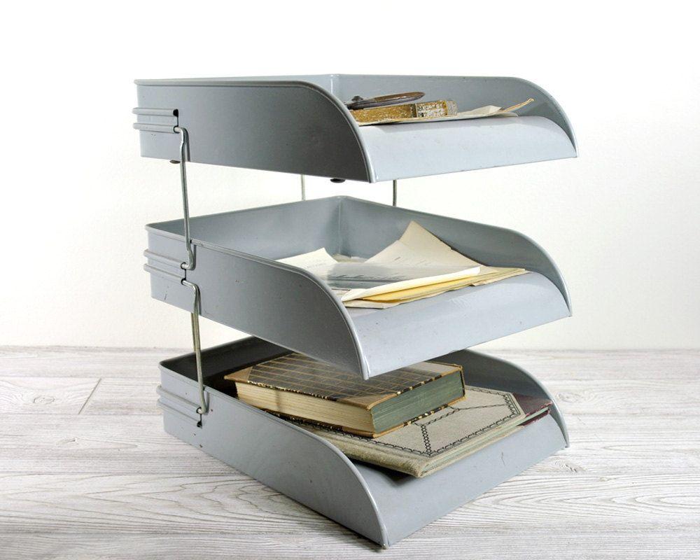 Vintage Mid Century Metal File Tray Office Paper Organizer Decor
