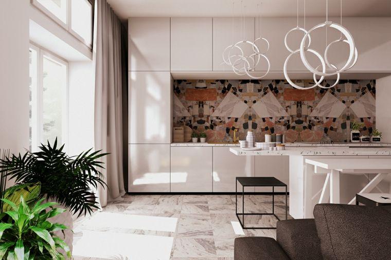 Decorazione open space con piante da appartamento, cucina con mobili ...
