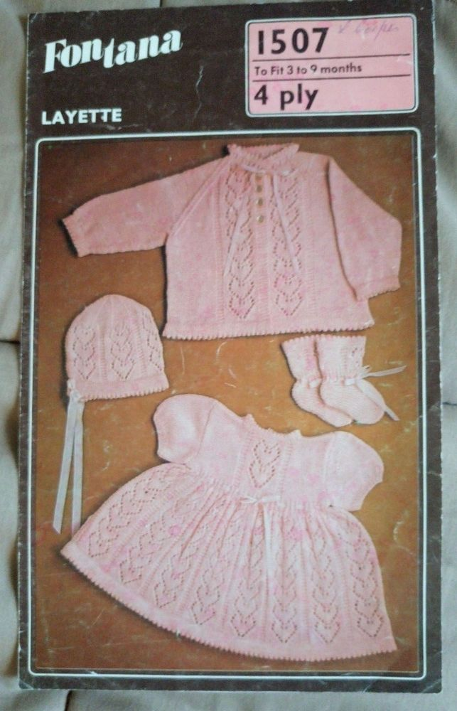 Baby Layette Fontana 1507 Vintage Knitting Pattern 4 Ply Yarn 3 9