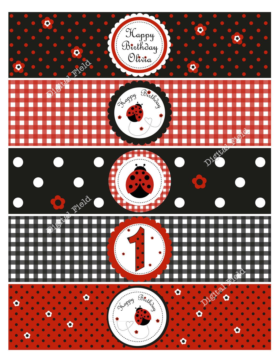 Ladybug water bottle labels diy printable birthday party decoration via etsy baby - Ladybug watering can ...