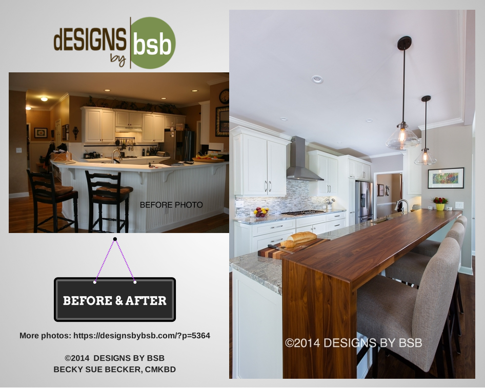 Incredible before and after kitchen renovation by Becky Sue Becker, CMKBD Click to view more!