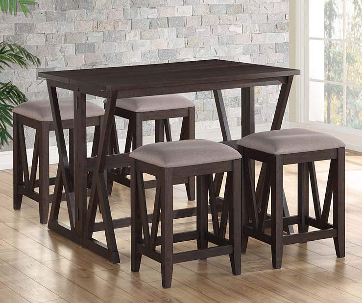 Espresso Folding 5 Piece Dining Set Folding Dining Table Dining