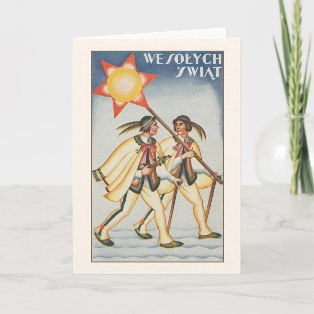 Vintage Polish WesoBych Zwit Christmas Card