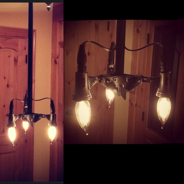 Penant Light made of recycled microphone stand, 3 microphones and