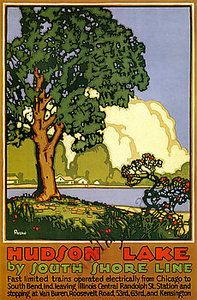 Autumn vintage South Shore Line poster repro 16x24