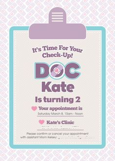 Doc McStuffins Inspired Birthday Party Invitation www.weheartparties.com