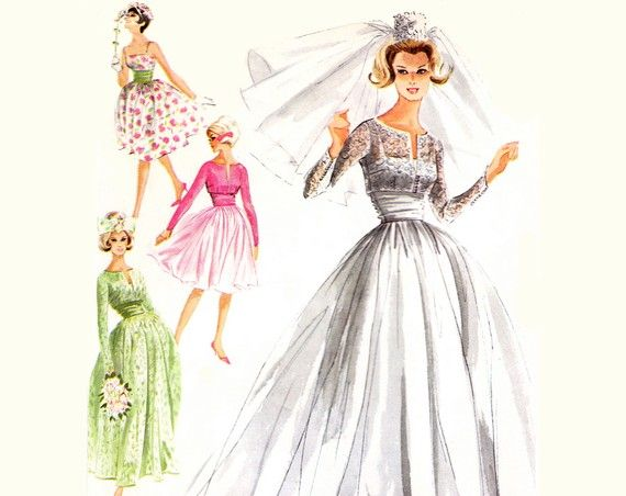 60s Wedding Dress Pattern / 1960s Vintage by TheVintageDesignShop ...