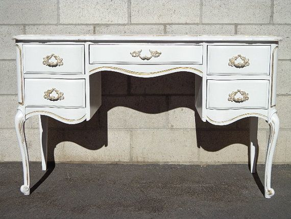 French Provincial Queen Anne Writing Desk Regency White Gold Vanity Shabby Chic Dresser Table Laptop Stand Custom Paint Available