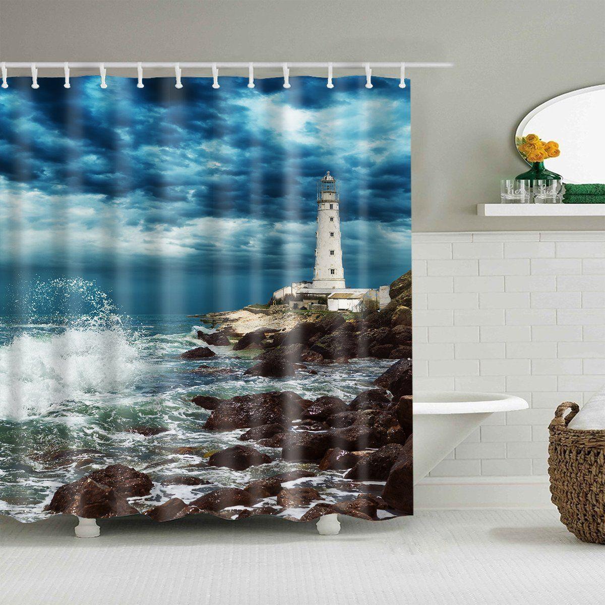 Dark Clouds Sky Beach Coast Lighthouse Shower Curtain In 2020