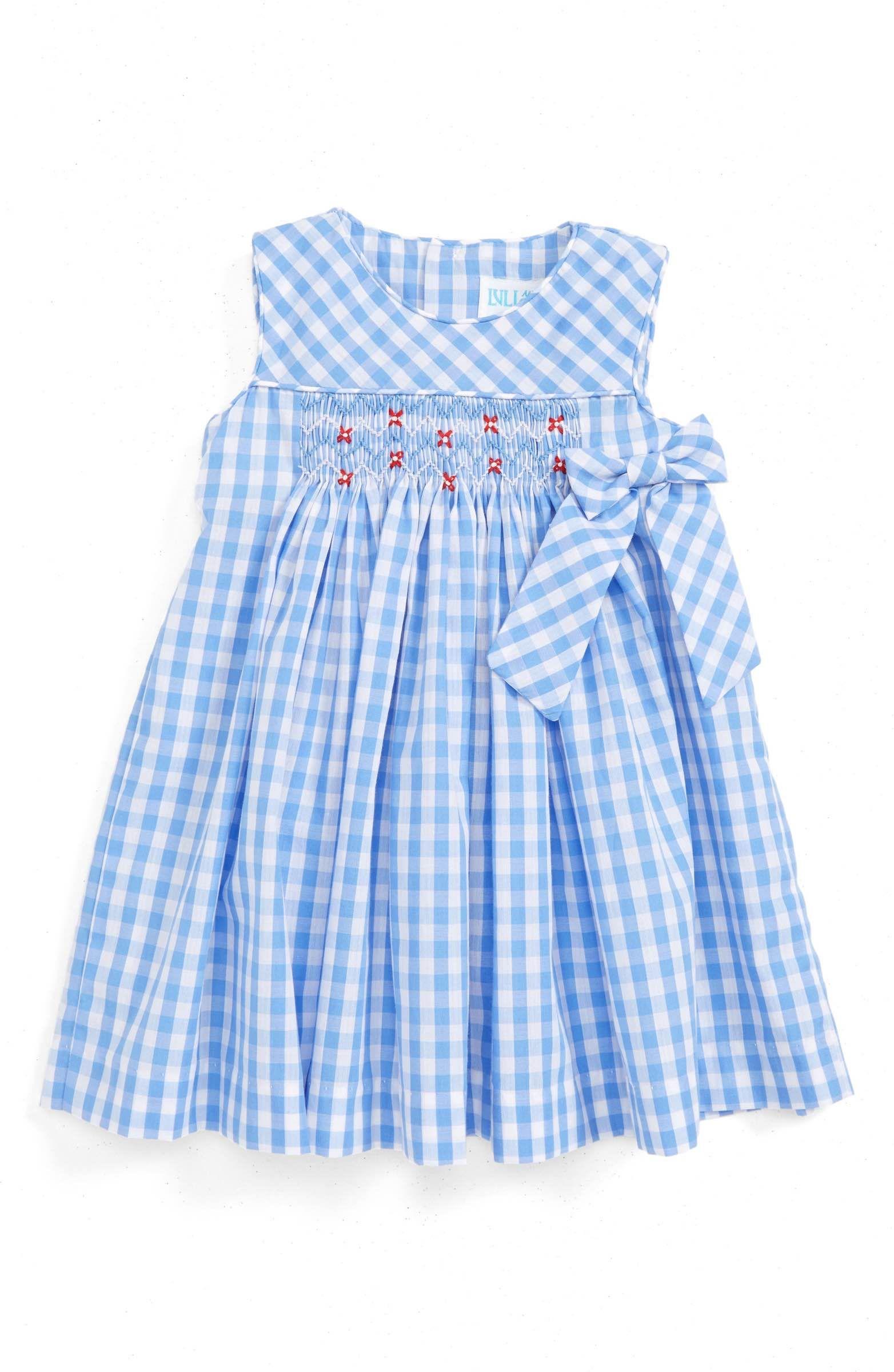 Main Image Luli & Me Gingham Check Smocked Dress Baby Girls