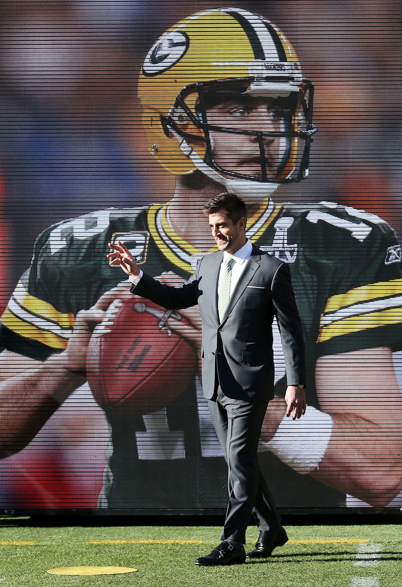 Aaron Rodgers During The Procession Of Super Bowl Mvps Before Sb50 Green Bay Packers Football Green Bay Football Green Bay Packers