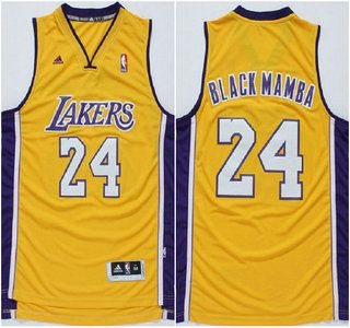 4d1e295c4 ... Los Angeles Lakers Jersey 24 Kobe Bryant Black Mamba Nickname Yellow  Revolution 30 Swingman Jerseys ...