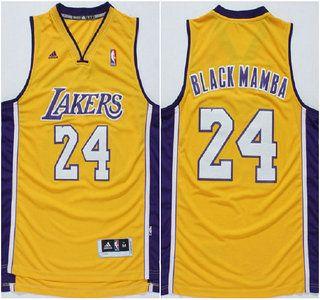 Los Angeles Lakers Jersey 24 Kobe Bryant Black Mamba Nickname Yellow  Revolution 30 Swingman Jerseys