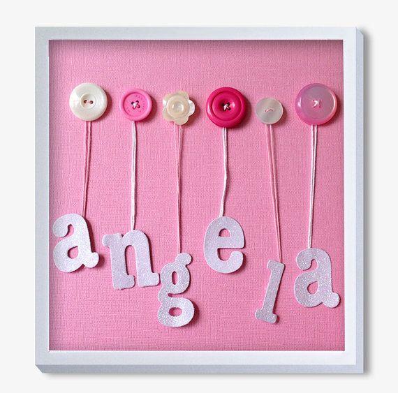 Nursery Art Baby Art Button Art Baby Girl Artwork Pink By Quebee