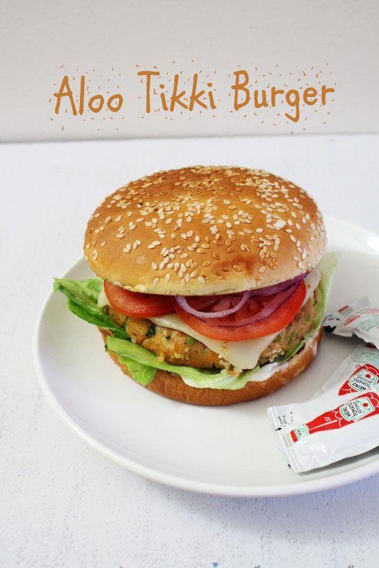 Aloo Tikki Burger Recipe How To Make Aloo Tikki Burger At Home Recipe Veg Burgers Recipe Recipes Real Food Recipes
