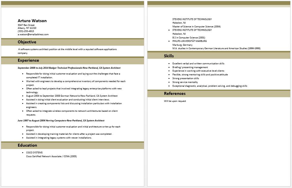 System Architect Resume Sample Resume Template Architect Resume Sample Architect Resume Sample Resume Templates