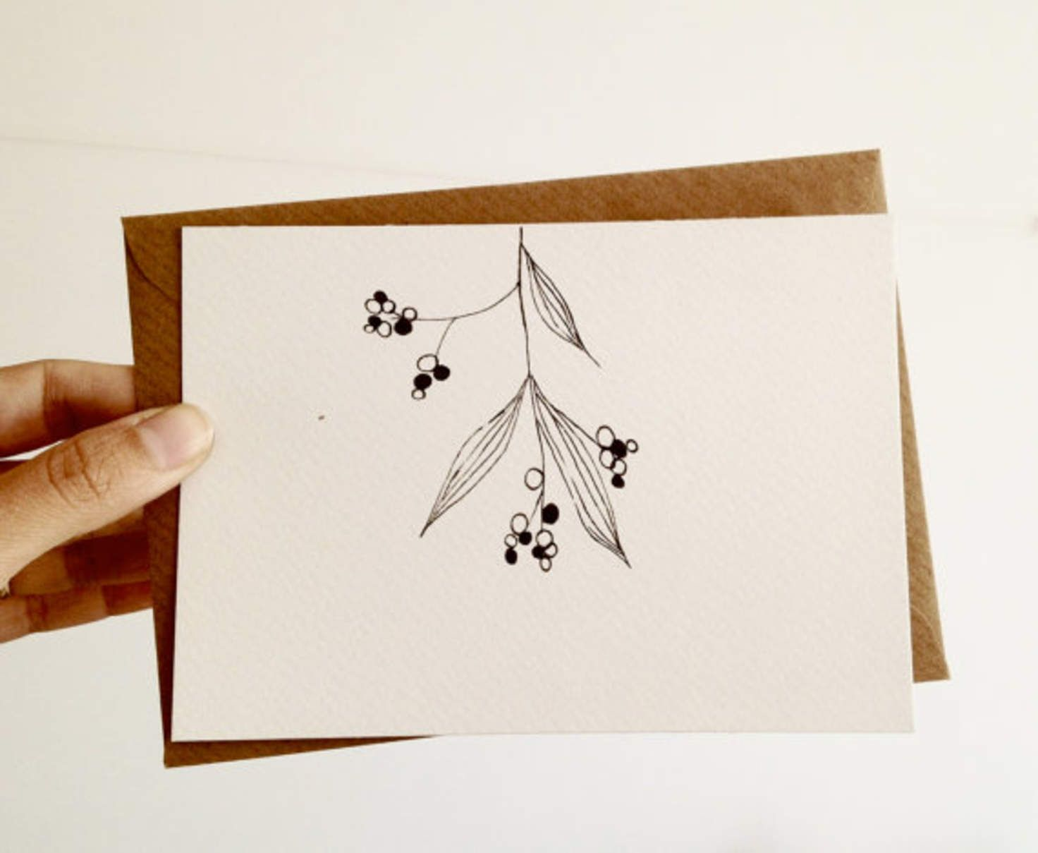 Hand Drawn Christmas Card, Mistletoe Card in black and white with ...