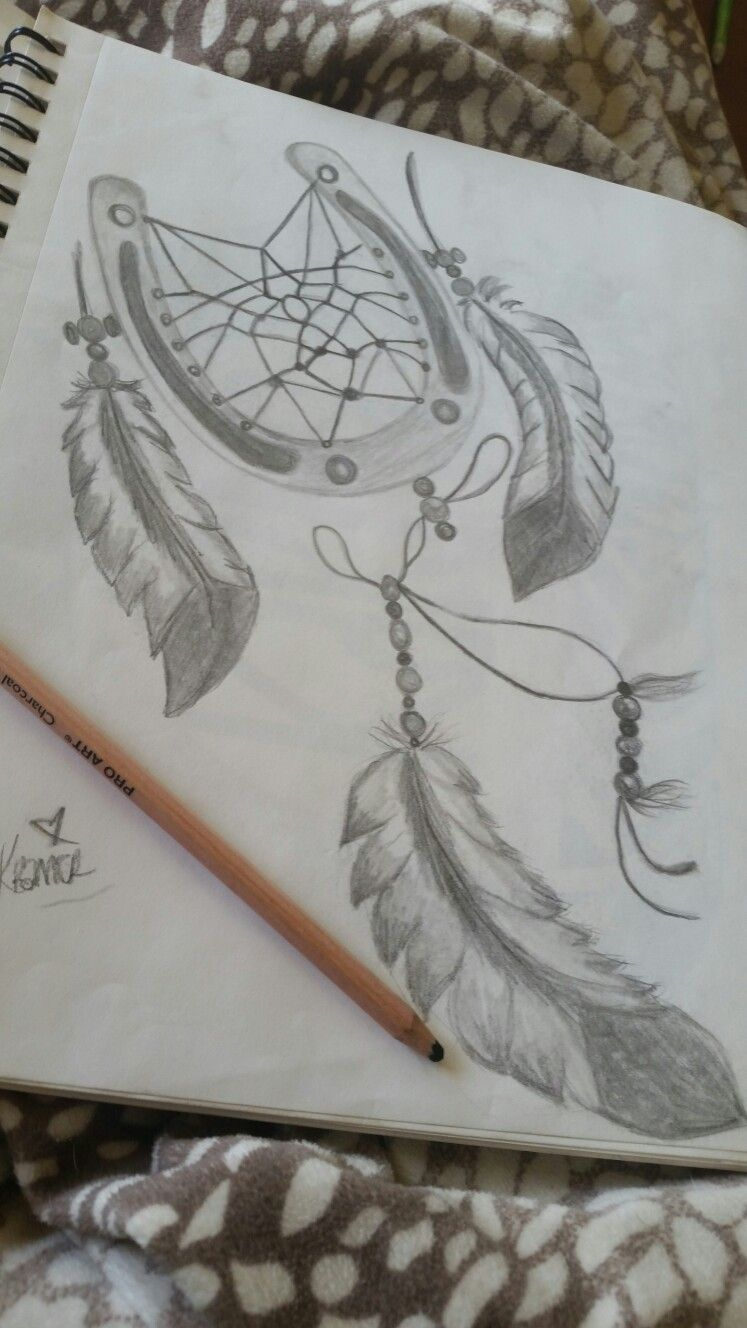 #art #feathers #horseshoe #dreamcatcher #drawing #sketch #tumblr