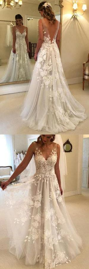 Elegant A-line with V-neck tulle floor-length wedding dresses with lace applications… – For the wedding