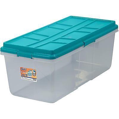 Plastic Latch Box 27qt Storage Container Stadium Blue Clear Lid
