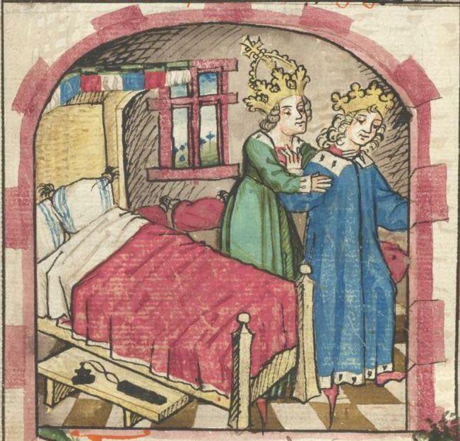Ms. germ. qu. 12 - Die sieben weisen Meister SchreiberHans <Dirmstein> ErschienenFrankfurt, 1471 Folio 12v