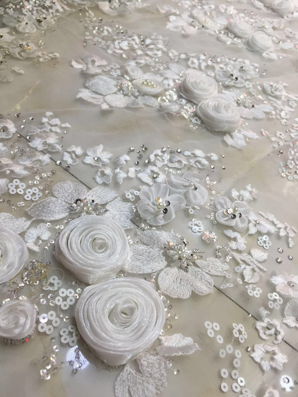 Fashion style 3D rose handmade flowers stones pearls wedding show evening  dress lace fabric 0ac1ebfe276a