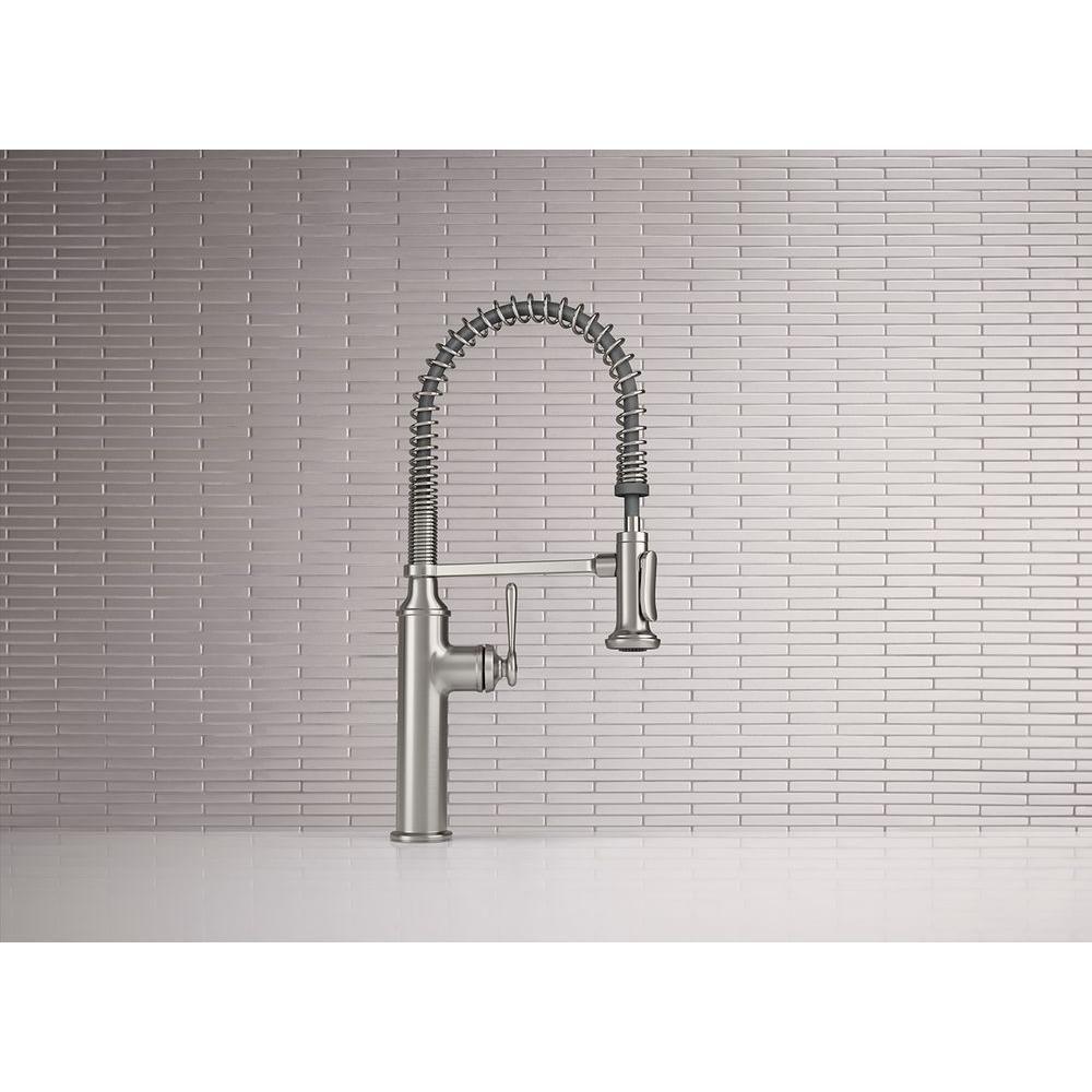 Kohler sous pro style single handle pull down sprayer kitchen faucet in vibrant stainless k r10651 sd vs the home depot
