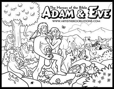 The Heroes of the Bible Coloring Pages: Adam & Eve | Bible ...