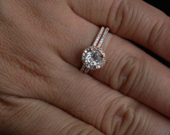 round halo ring with wedding band - Google Search