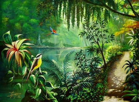 Acrylic Painting Into The Jungle Gomezarts Pinterest