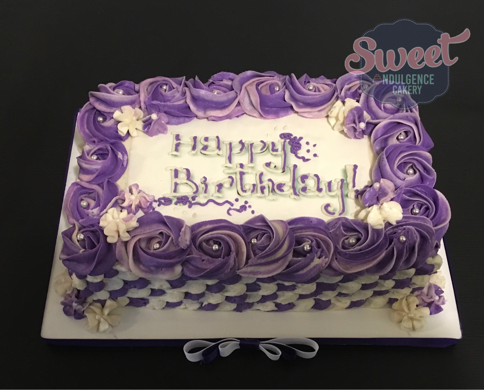 Pleasing Purple And White Happy Birthday Sheet Cake With Silver Dragees Funny Birthday Cards Online Elaedamsfinfo