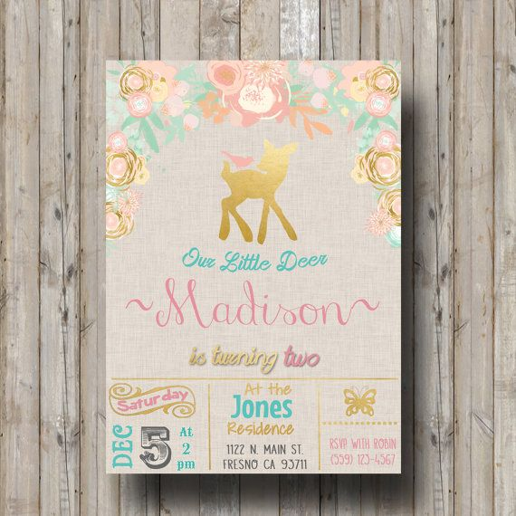 Woodland deer birthday party invitation invite shabby chic water woodland deer birthday party invitation invite shabby chic water color flowers vintage rustic peach and mint gold pink our little deer filmwisefo
