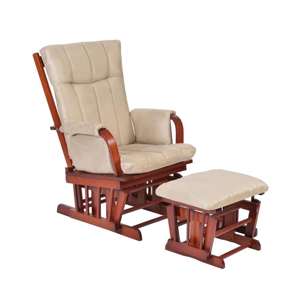 Artiva Home Deluxe Mocha Microfiber Cushion Glider Chair And