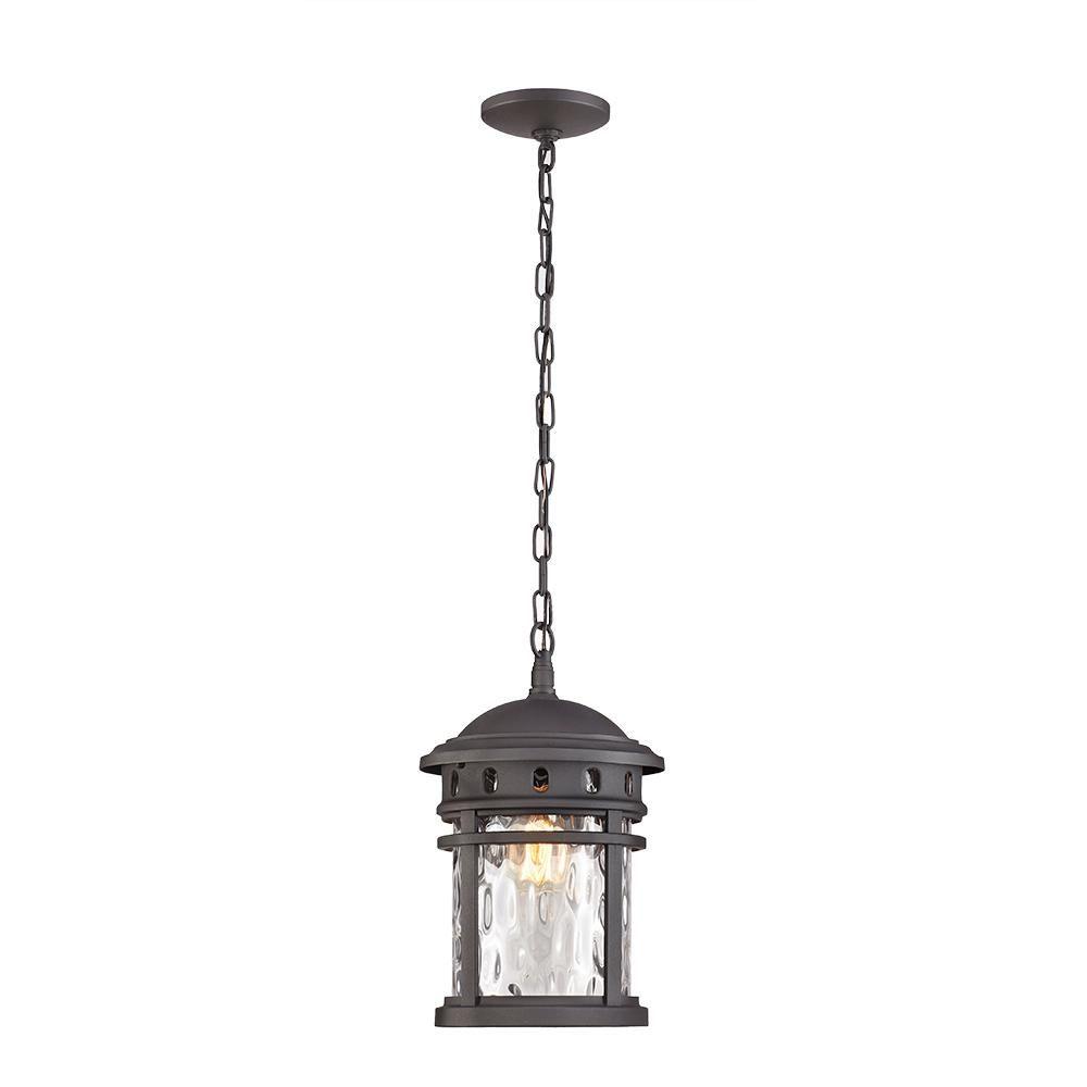 Home Decorators Collection 1 Light Black Outdoor Pendant C2374