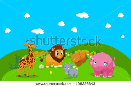 Farm animals with background - stock vector