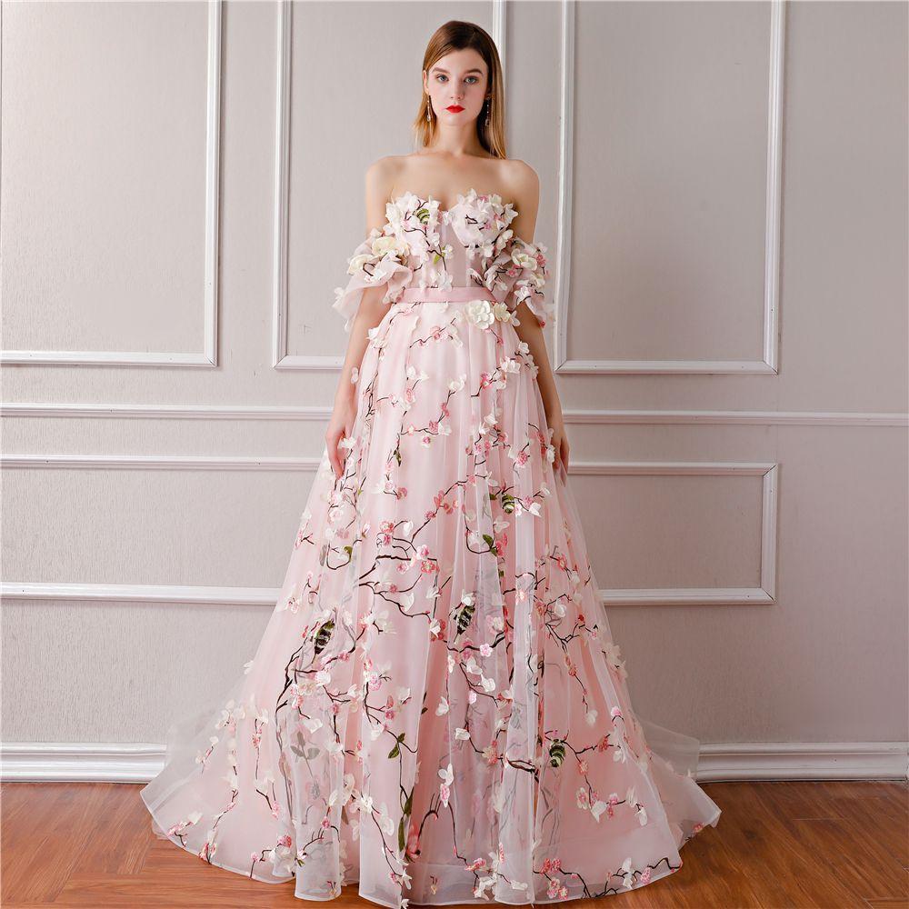 Flower fairy blushing pink prom dresses 2019 aline