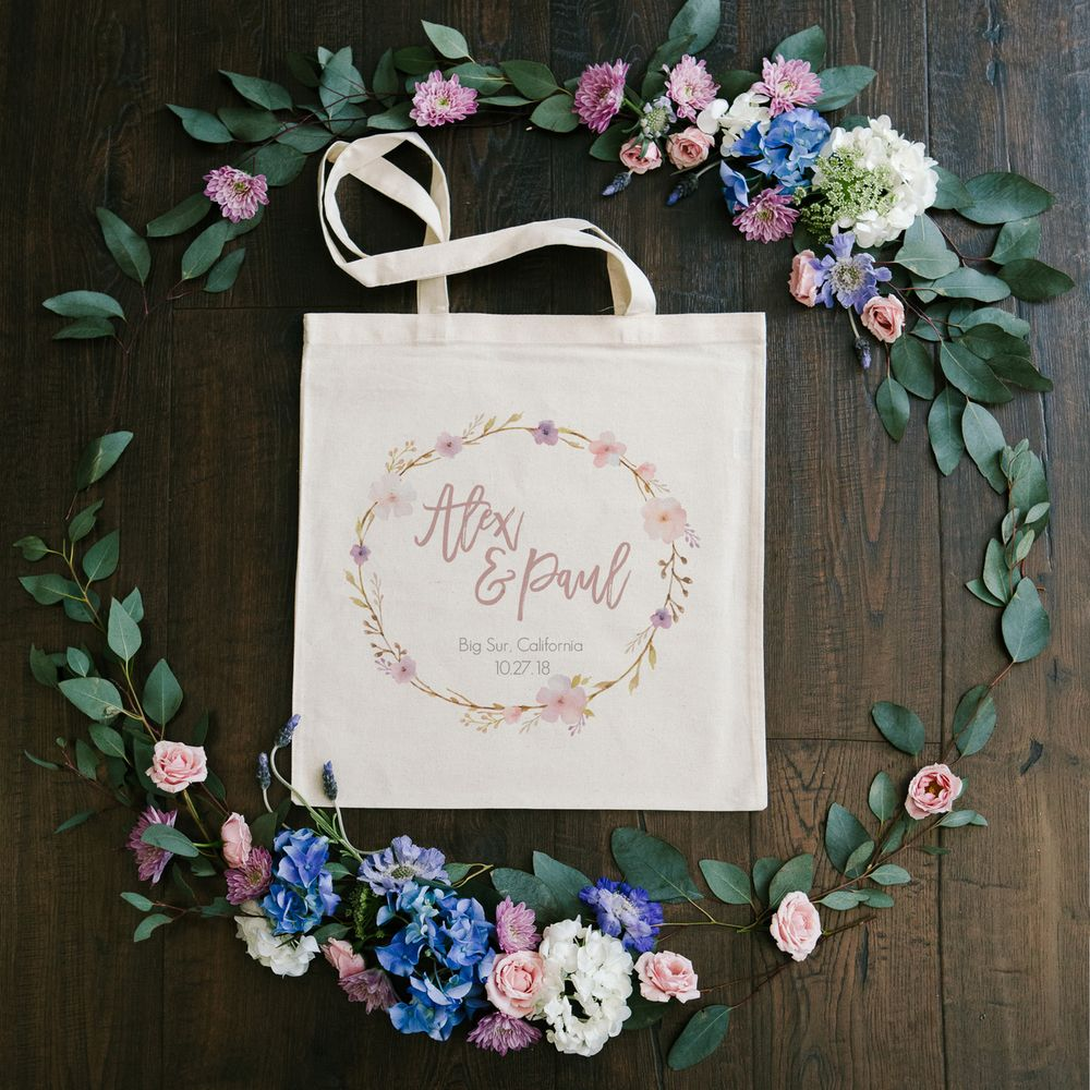 Floral Wreath Wedding Tote   Floral wreath, Floral and Wedding