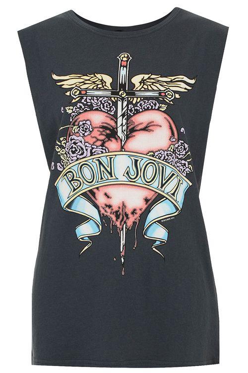 women's Bon Jovi rock band heart sword pattern printed muscle tank in black, 2014 new arrival street wear sleeveless top $618,23