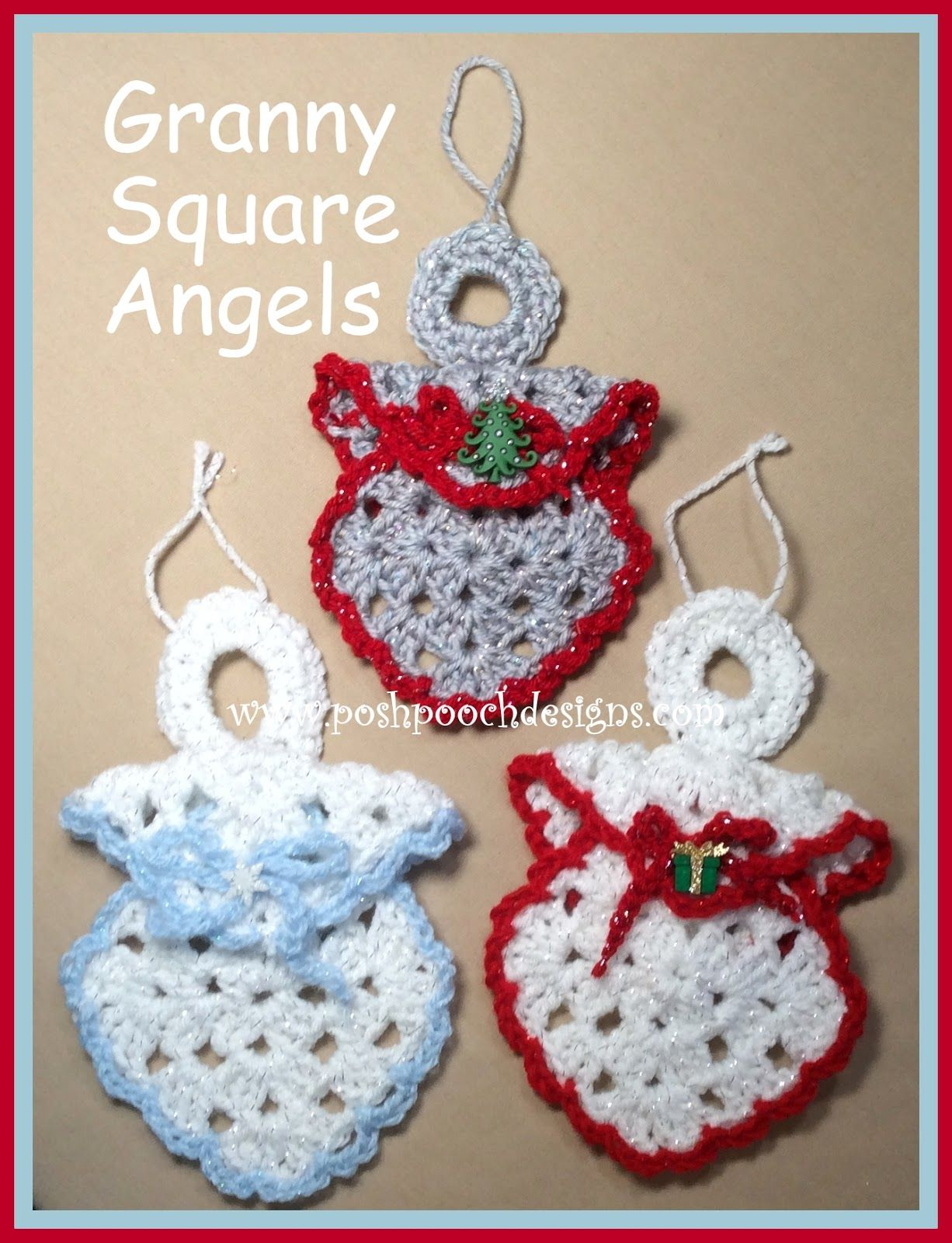 Granny Square Angel Ornament Crochet Pattern - Posh Pooch Designs