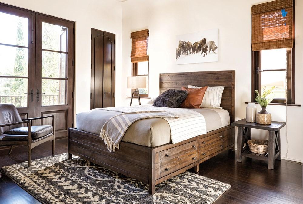 Rowan California King Panel Bed W/Storage in 2020 Rustic