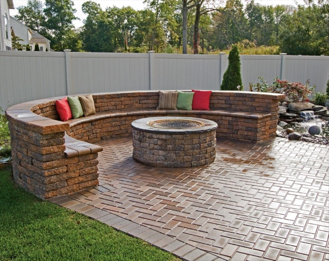 Modern Paving Floor Plus Curved Brick Bench With Colorful Outdoor Pillows  And Cool In Ground Fire