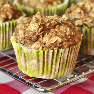 Low fat banana,oatmeal and apple muffins