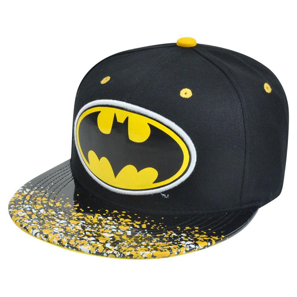 23bf3899504 DC Comics Batman Dark Knight Splatter Print Visor Flat Bill Sun Buckle Hat  Cap  ConceptOne  Batman