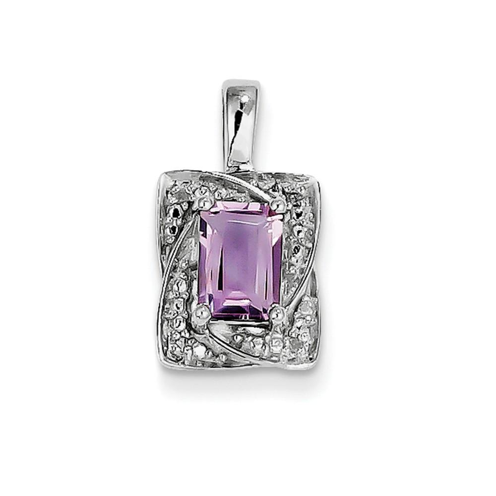 Sterling Silver Pink Quartz Diamond Pendant