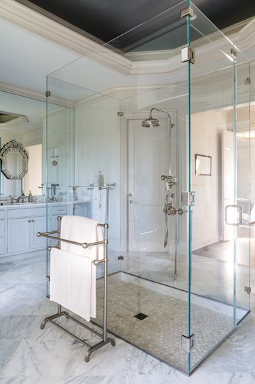 In the #master #bath, custom fittings were created for the floating, #glass-enclosed #shower. Designed by Simone Lowe and Patrick Latessa. #interior #design