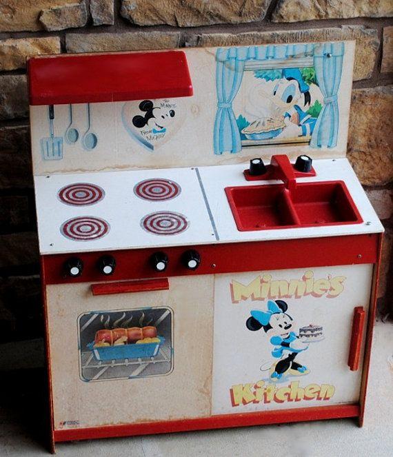 Red Play Kitchen Set vintage disney minnie mouse kitchen set display toy | vintage