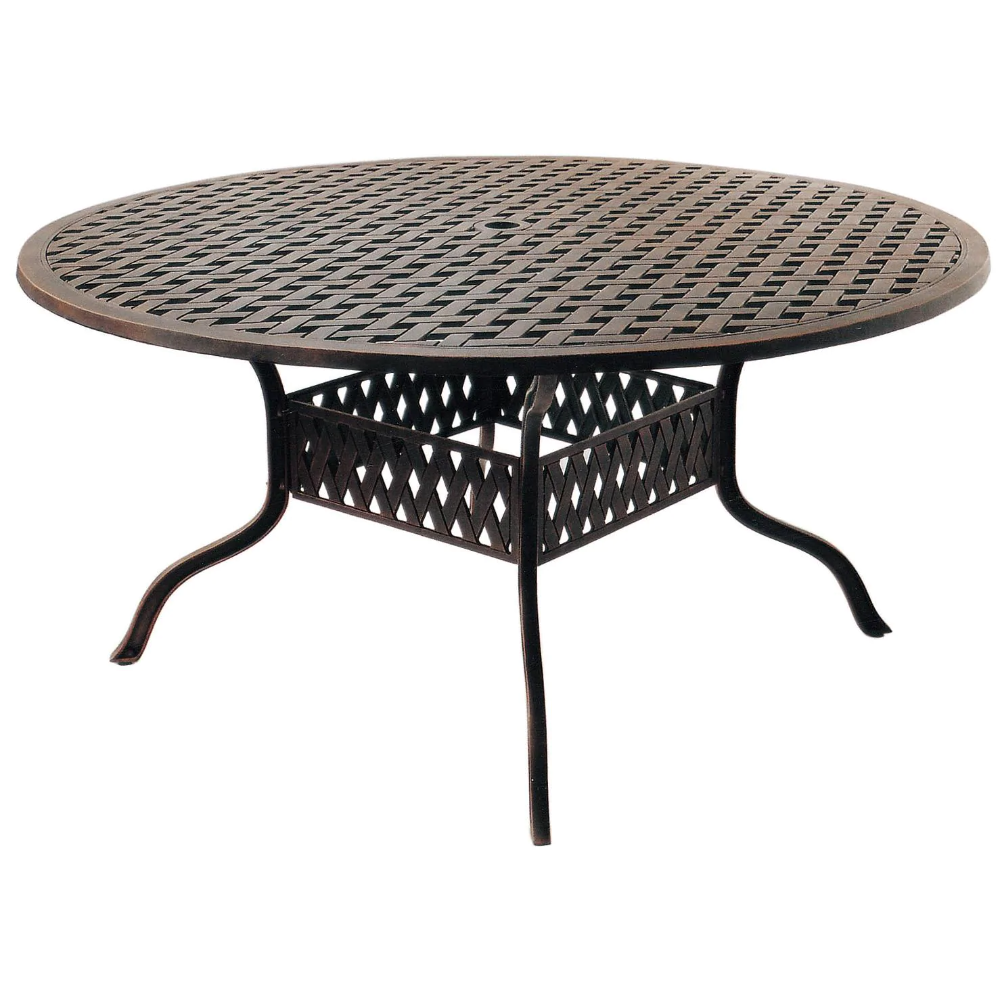 Nassau 7 Piece Cast Aluminum Patio Dining Set W 60 Inch Round Table Sesame Cushions By Darlee Bbqguys In 2021 Patio Dining Set 60 Round Dining Table Patio Dining 60 inch round outdoor dining table