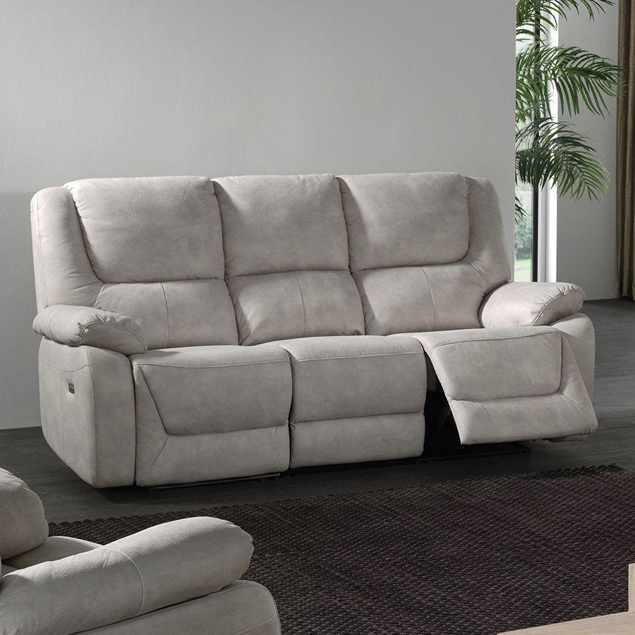 canap 3 places relax lectrique en tissu gris odessa canape relax pinterest canapes and en vogue - Canape Relax 3 Places