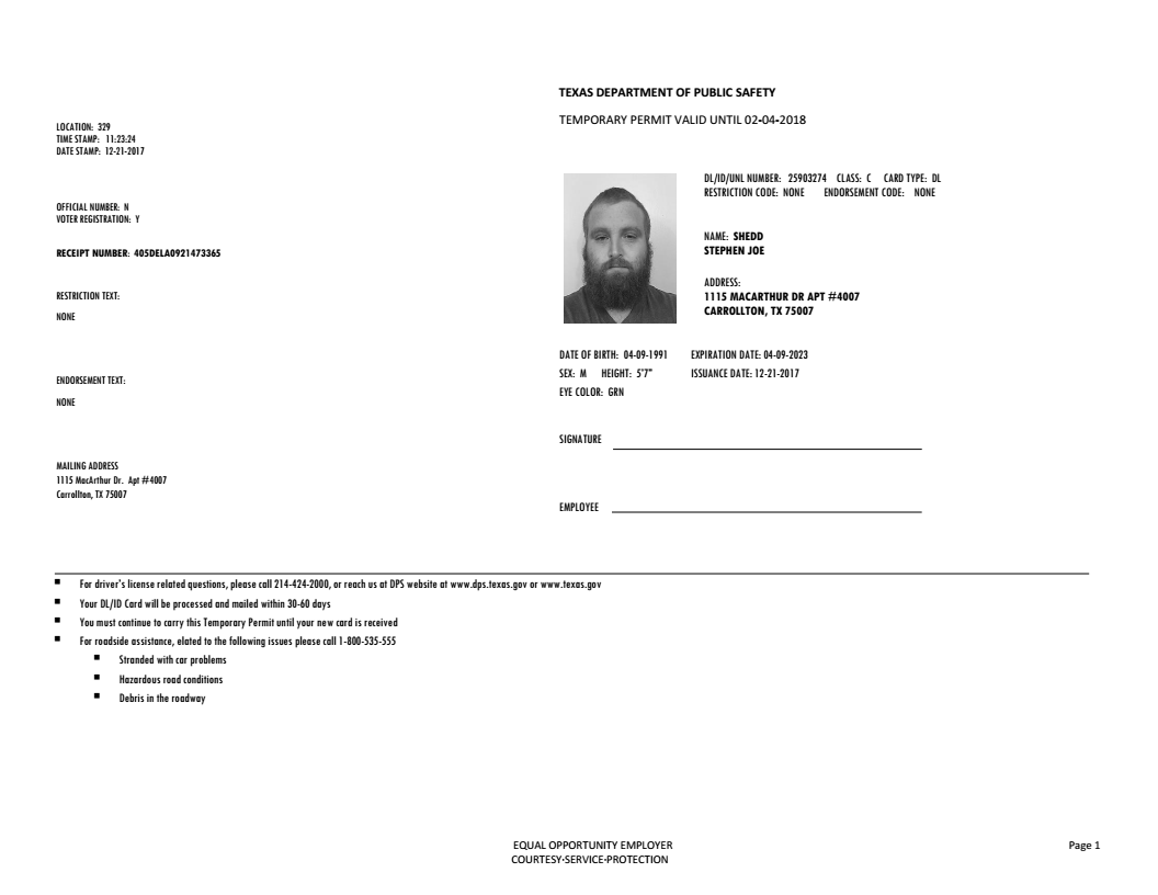 drivers license expiration date texas