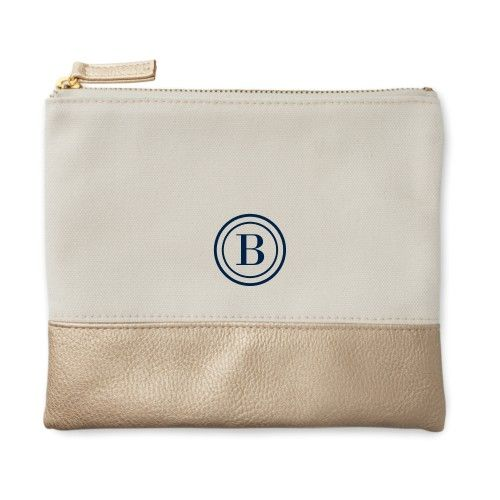 Circle Frame Canvas Pouch, Metallic Gold, Small Pouch, White, Women's, Size: S